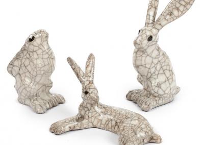 Paul Jenkins raku ceramic hares group