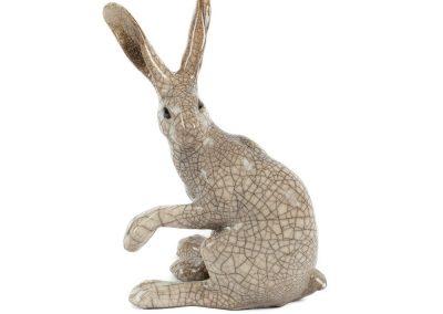 Paul Jenkins raku ceramicmedium-raku-hare-sitting_2