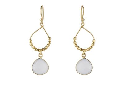 Ashiana Jewellery - Bay Reef Gold Hoop Earrings - White Chalcedony - Fizz Collection