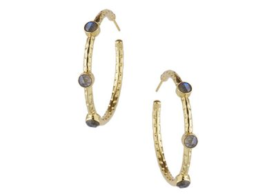 Ashiana Jewellery - Cruise Gemstone Hoop Earrings in Labradorite - Fizz Collection