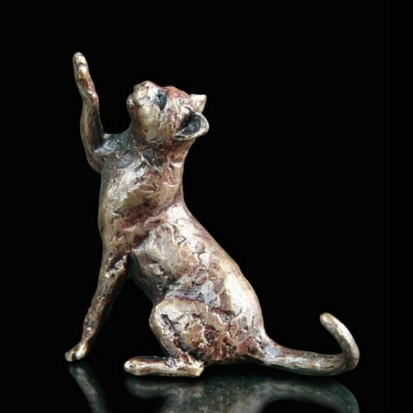 butler & peach minature bronze cat sitting with its paw in the air