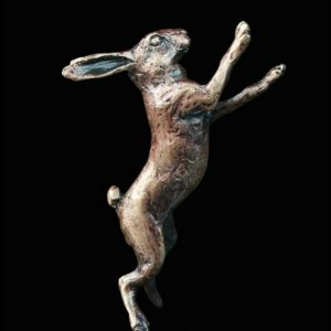 butler & peach minature bronze hare standing on its back legs boxing