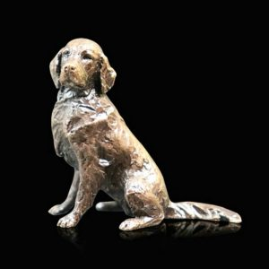 butler & peach minature bronze long coated retriever sitting down