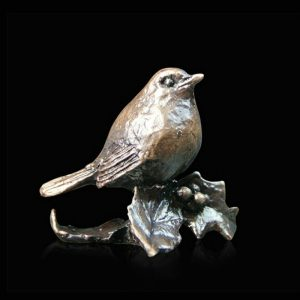 butler & peach minature bronze chubby robin on holly leaves