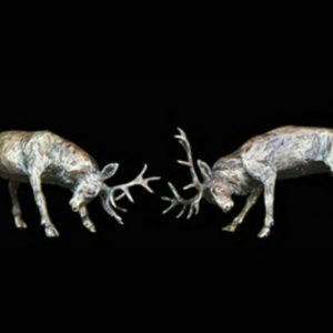 butler & peach minature bronze pair of stags with heads lowered about to lock horns