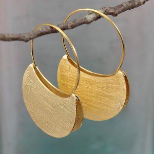 gold plated folded hoop earrings