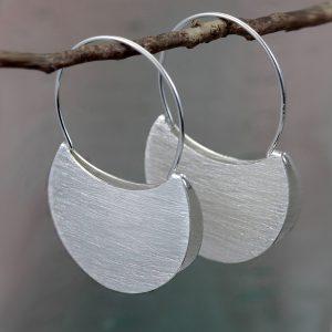 silver folded hoop earrings