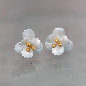 small silver cherry blossom stud earrings with gold plated stamens