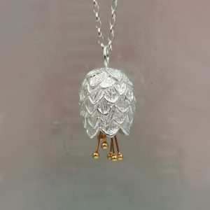 christin ranger silver thistle pendant with gold plated stamens