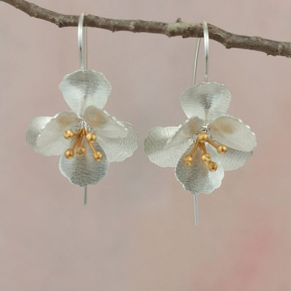 cherry blossom flower earrings with gold plated stamens on hook wires