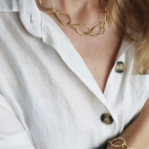 tutti & co gold link necklace