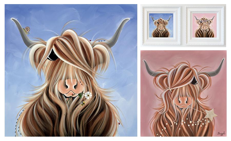 Jennifer Hogwood collage of Highland Cows